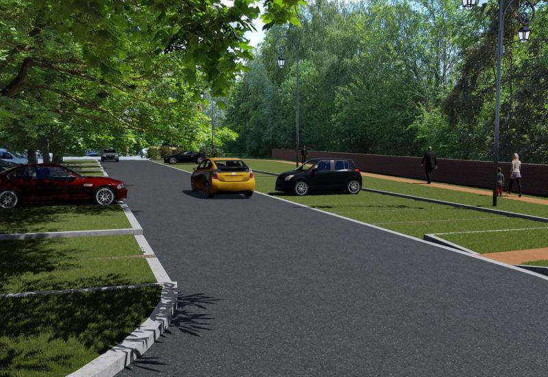 rendu 3D parking végétalisé